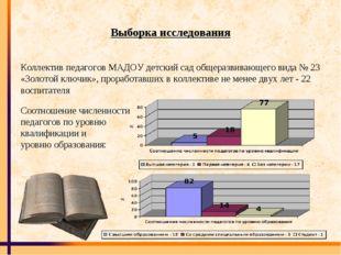 Выборка исследования Коллектив педагогов МАДОУ детский сад общеразвивающего в