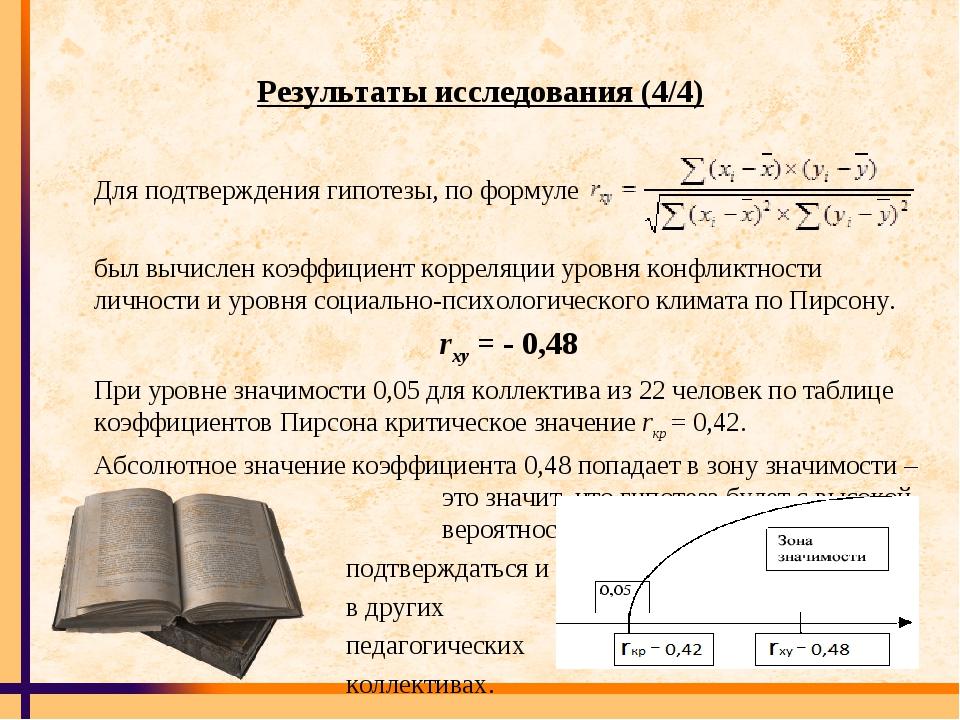 Результаты исследования (4/4) Для подтверждения гипотезы, по формуле был вычи...