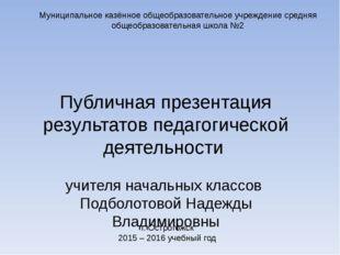 Публичная презентация результатов педагогической деятельности учителя начальн