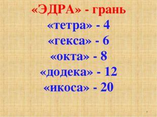 «ЭДРА» - грань «тетра» - 4 «гекса» - 6 «окта» - 8 «додека» - 12 «икоса» - 20