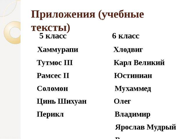 Приложения (учебные тексты) 5 класс 6 класс Хаммурапи Хлодвиг Тутмос III Карл...