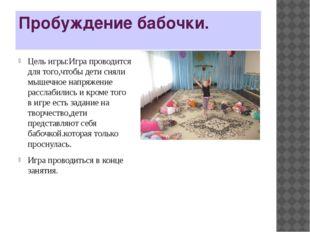 Пробуждение бабочки. Цель игры:Игра проводится для того,чтобы дети сняли мыше