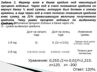 Решение. Обозначим процент годовых в банке через x%, S0 - сумма выданного кре