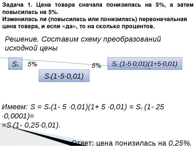 Имеем: S = S0(1- 5 ·0,01)(1+ 5 ·0,01) = S0 (1- 25 ·0,0001)= =S0(1- 0,25·0,01)...