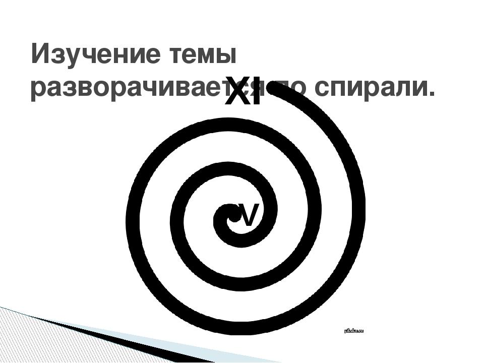 Изучение темы разворачивается по спирали. XI V