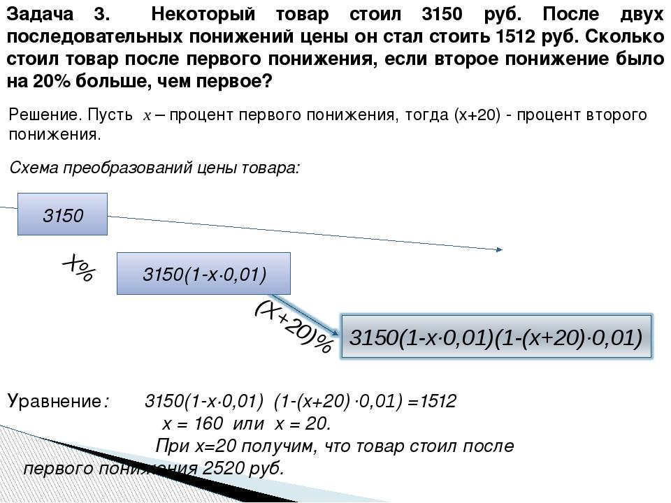Уравнение: 3150(1-х·0,01) (1-(х+20) ·0,01) =1512 х = 160 или х = 20.  При...