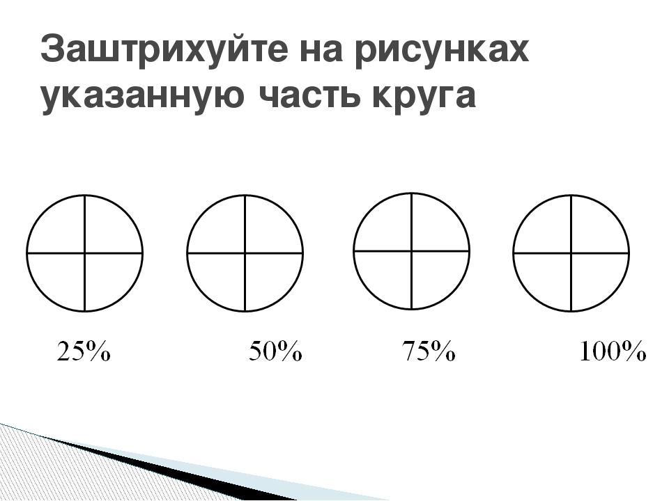 Заштрихуйте на рисунках указанную часть круга