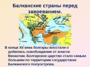 Балканские страны перед завоеванием. В конце XII века болгары восстали о доби