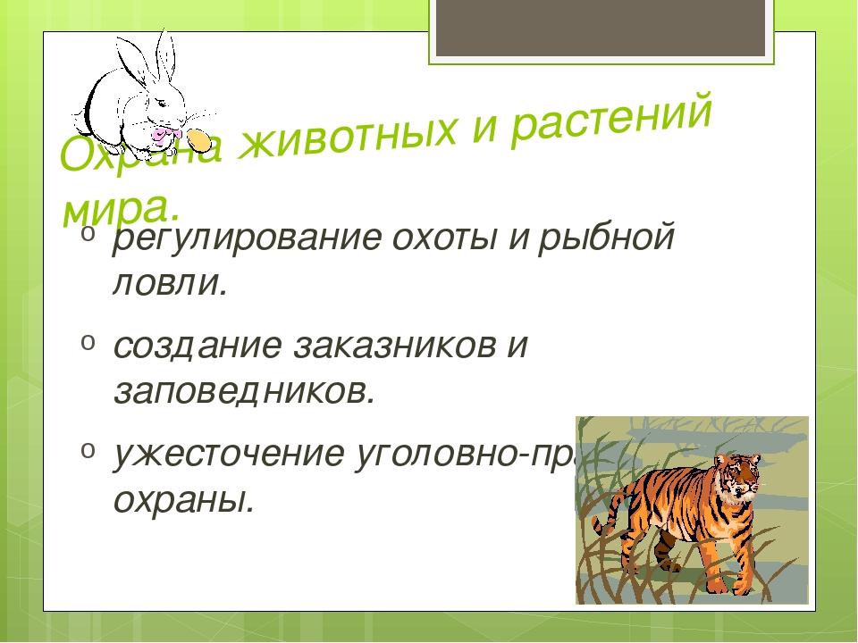 Охрана животных и растений мира. регулирование охоты и рыбной ловли. создание...