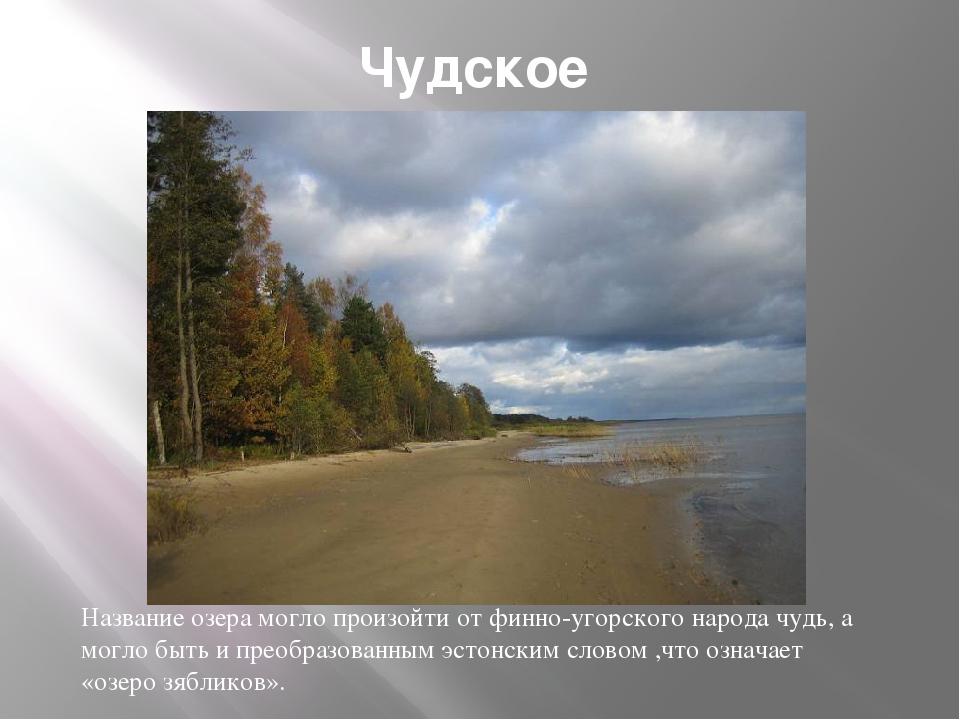 Чудское Название озера могло произойти от финно-угорского народа чудь, а могл...