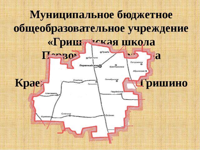Муниципальное бюджетное общеобразовательное учреждение «Гришинская школа Пер...