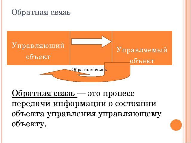 Обратная связь Обратная связь — это процесс передачи информации о состоянии о...