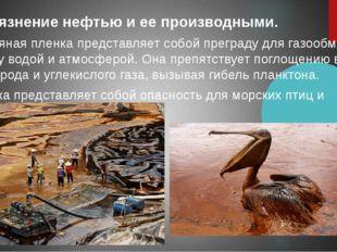 Загрязнение нефтью и ее производными. Нефтяная пленка представляет собой пре