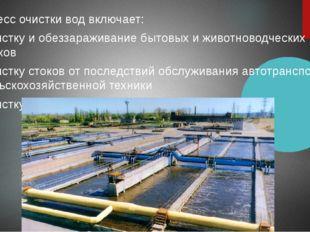 Процесс очистки вод включает: Очистку и обеззараживание бытовых и животновод