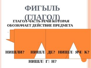 ФИГЫЛЬ (ГЛАГОЛ) ГЛАГОЛ-ЧАСТЬ РЕЧИ КОТОРАЯ ОБОЗНАЧАЕТ ДЕЙСТВИЕ ПРЕДМЕТА . НИШЛ