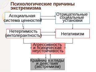 Психологические причины экстремизма Асоциальная система ценностей Нетерпимост