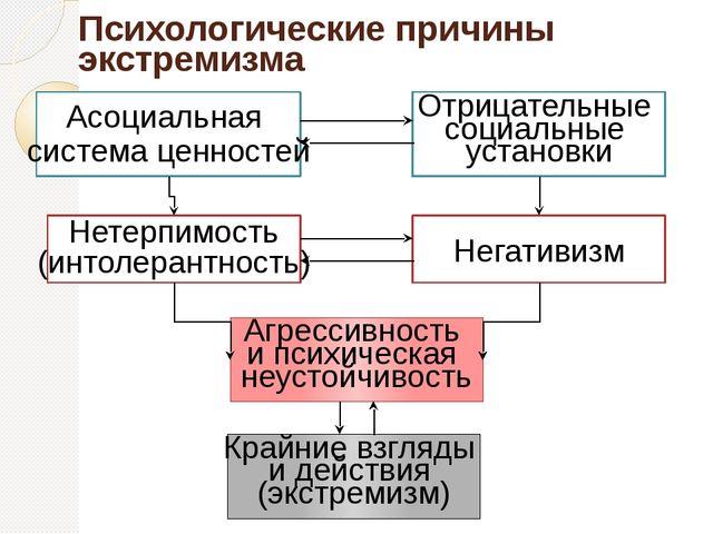 Психологические причины экстремизма Асоциальная система ценностей Нетерпимост...