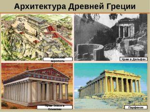 Архитектура Древней Греции Афинский акрополь Храм в Дельфах Храм Зевса в Олим