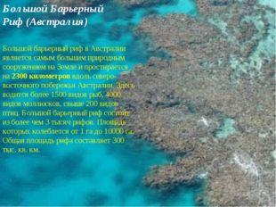 Большой Барьерный Риф (Австралия) Большой барьерный риф в Австралии является