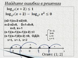 (x2-1)(x+2-x2)≤0. x+2-x2=0, D=1+8=9, x=2, x=-1 (x-1)(x+1)(x+1)(x-2) ≤0 (x-1)