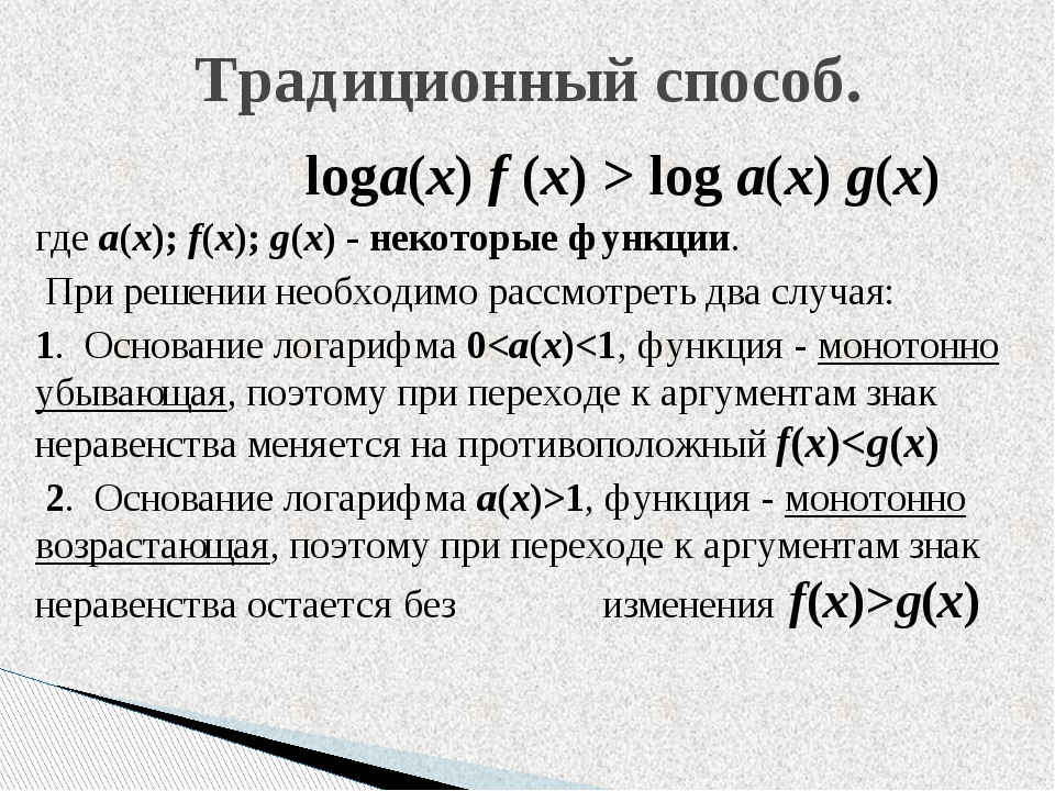 loga(x) f (x) > log a(x) g(x) гдеa(x); f(x); g(x)- некоторые функции. При...