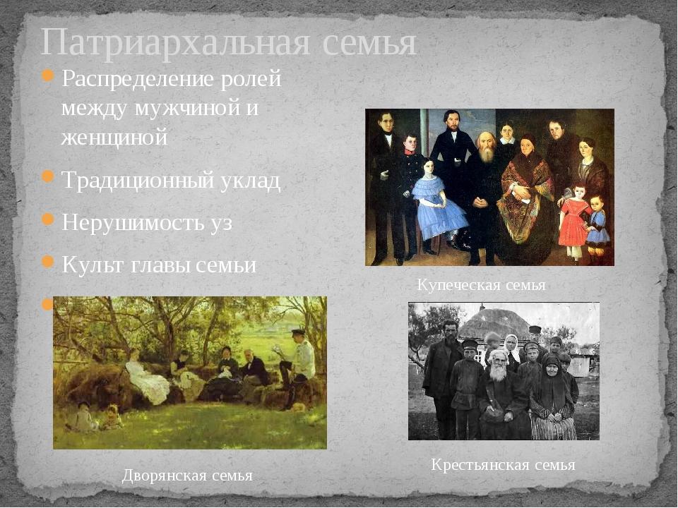 Патриархальная семья Распределение ролей между мужчиной и женщиной Традиционн...