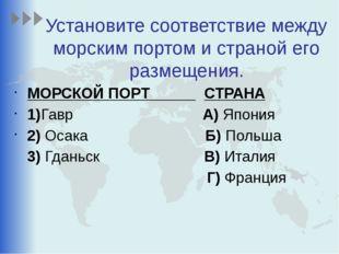 Установите соответствие между морским портом и страной его размещения. МОРСКО