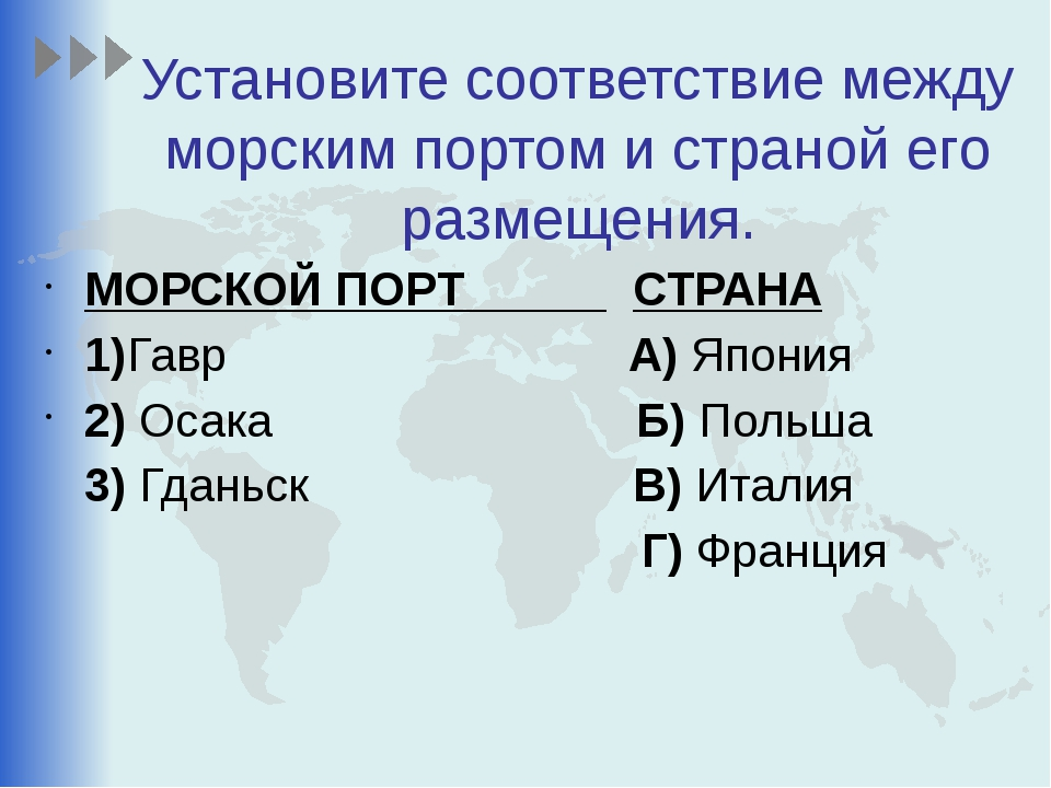Установите соответствие между морским портом и страной его размещения. МОРСКО...