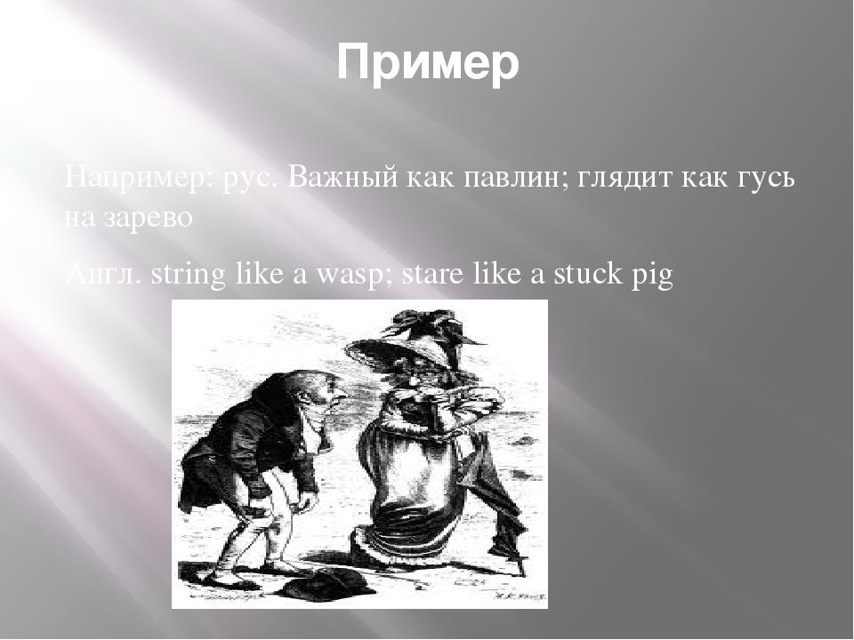 Пример Например: рус. Важный как павлин; глядит как гусь на зарево Англ. stri...
