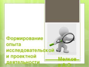 Мелкова А.О Формирование опыта исследовательской и проектной деятельности шко