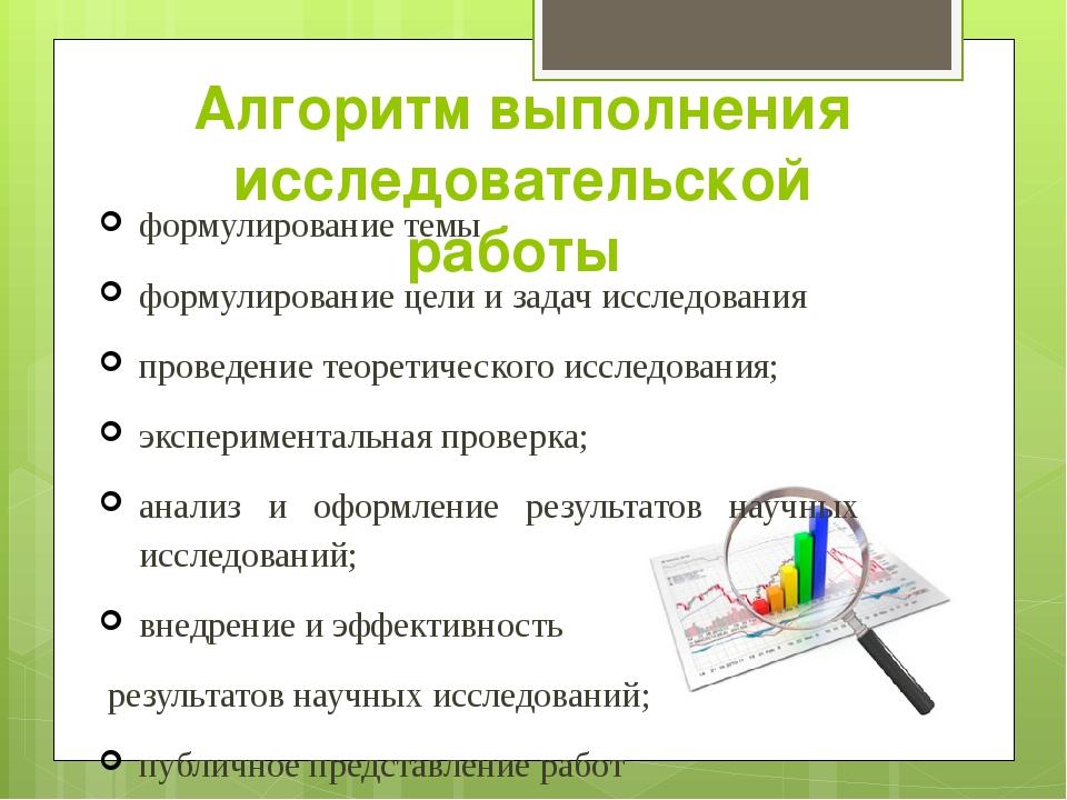 Алгоритм выполнения исследовательской работы формулирование темы формулирован...