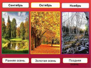 Сентябрь Октябрь Ноябрь Ранняя осень. Золотая осень Поздняя осень.
