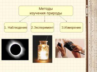 Методы изучения природы 1. Наблюдение 2.Эксперимент 3.Измерение