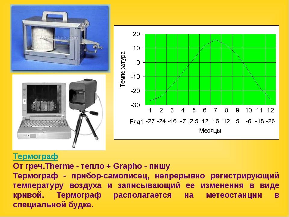 Термограф От греч.Therme - тепло + Grapho - пишу Термограф - прибор-самописец...