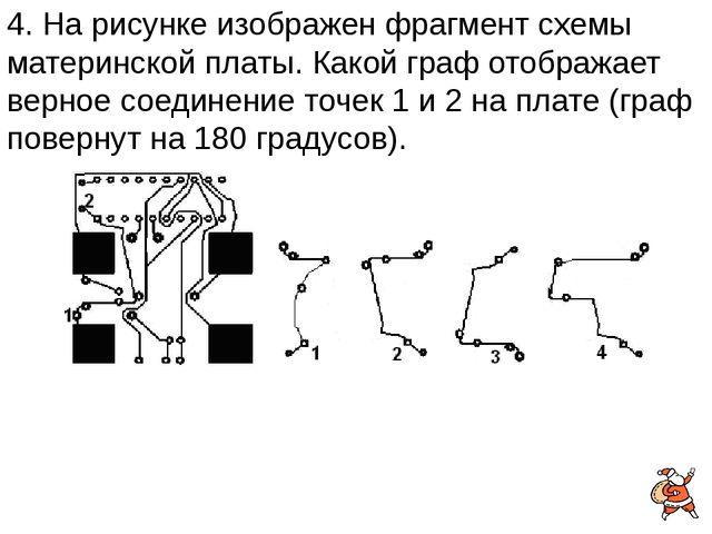 4. На рисунке изображен фрагмент схемы материнской платы. Какой граф отобража...