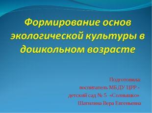 Подготовила: воспитатель МБДУ ЦРР - детский сад № 5 «Солнышко» Шатилина Вера