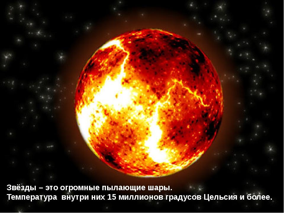 Звёзды – это огромные пылающие шары. Температура внутри них 15 миллионов град...