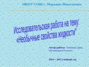 МБОУ СОШ с. Марьино-Николаевка Автор работы: Тимонова Дина, обучающаяся 8 кла