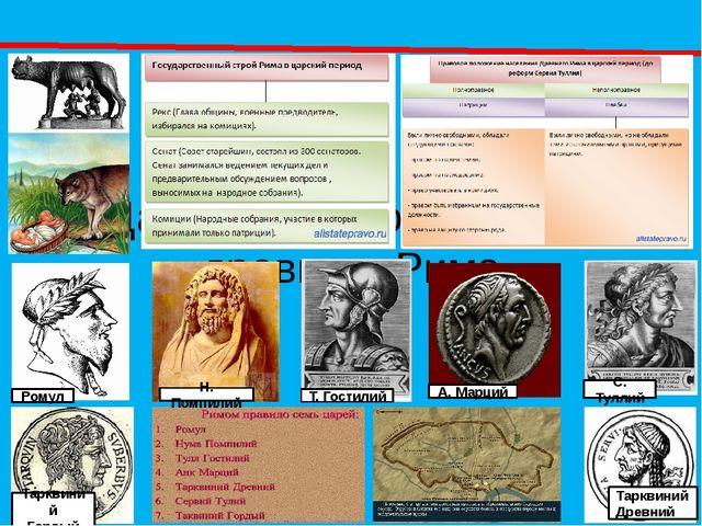 Царский период истории древнего Рима Ромул Н. Помпилий Т. Гостилий А. Марций...