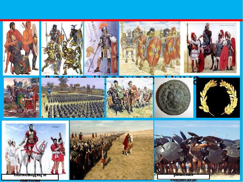 Армия Древнего Рима римская «черепаха» полководец и ликторы