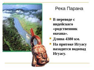 В переводе с индейского «родственник океана». Длина 4380 км. На притоке Игуас