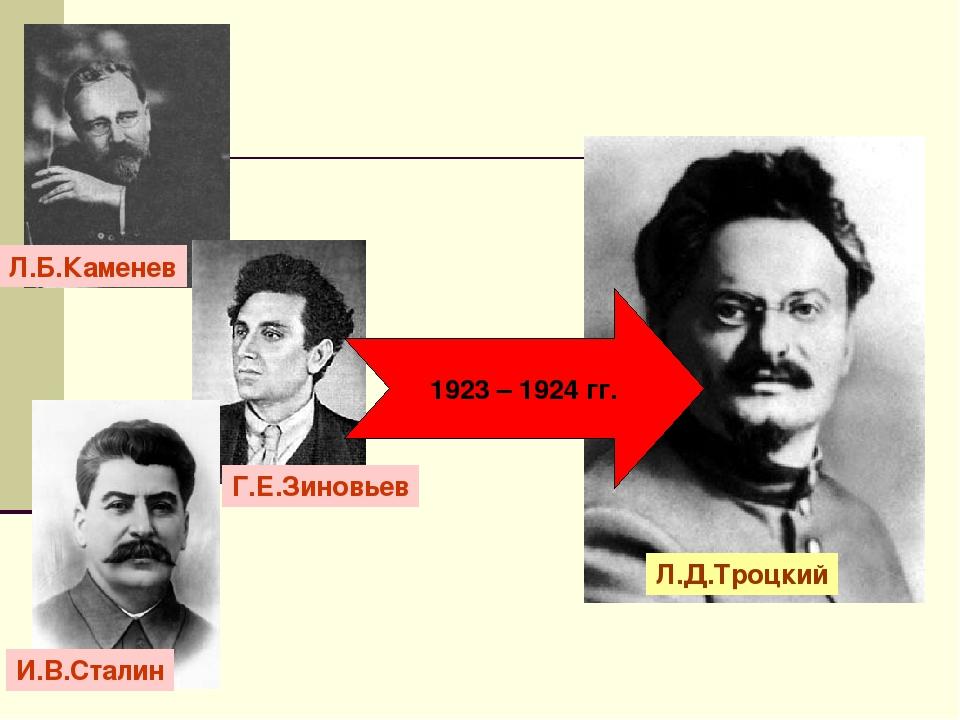 1923 – 1924 гг. Л.Б.Каменев И.В.Сталин Г.Е.Зиновьев Л.Д.Троцкий