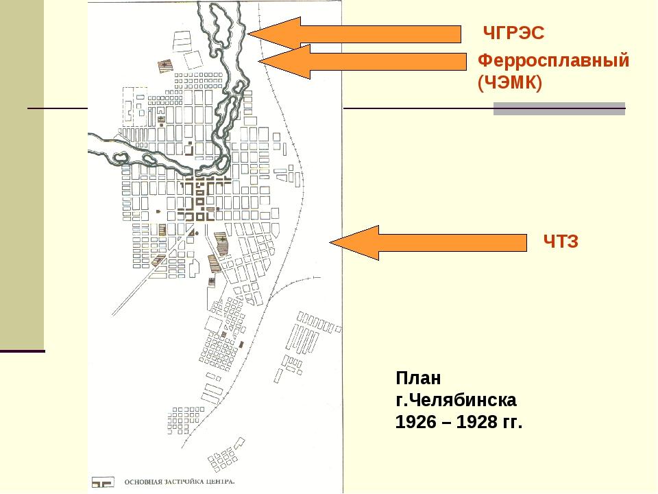 План г.Челябинска 1926 – 1928 гг. ЧГРЭС Ферросплавный (ЧЭМК) ЧТЗ