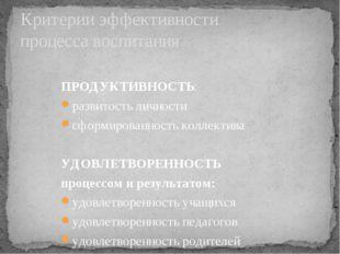 Критерии эффективности процесса воспитания ПРОДУКТИВНОСТЬ: развитость личност
