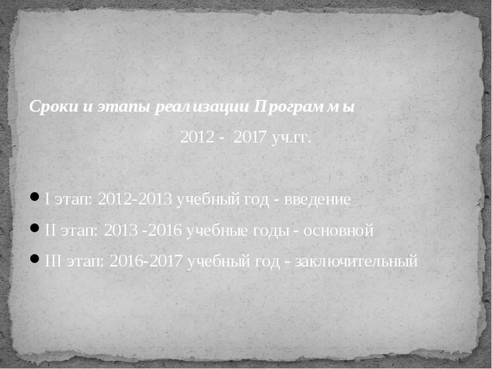 Сроки и этапы реализации Программы 2012 - 2017 уч.гг.  Iэтап: 2012-2013 уче...