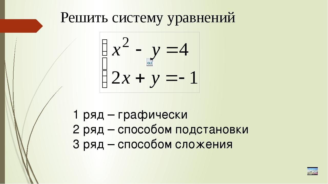 Решить систему уравнений 1 ряд – графически 2 ряд – способом подстановки 3 ря...