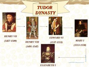 HENRY VII (1457-1509) TUDOR DYNASTY HENRY VIII (1491-1547) EDWARD VI (1537-15