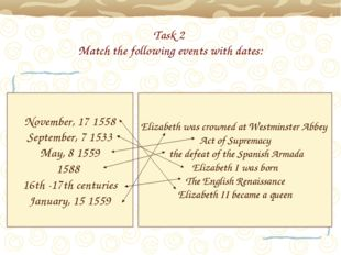 Task 2 Match the following events with dates: November, 17 1558 September, 7