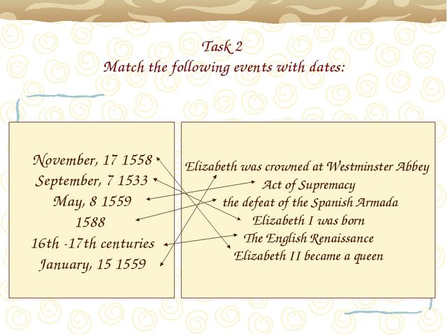 Task 2 Match the following events with dates: November, 17 1558 September, 7...