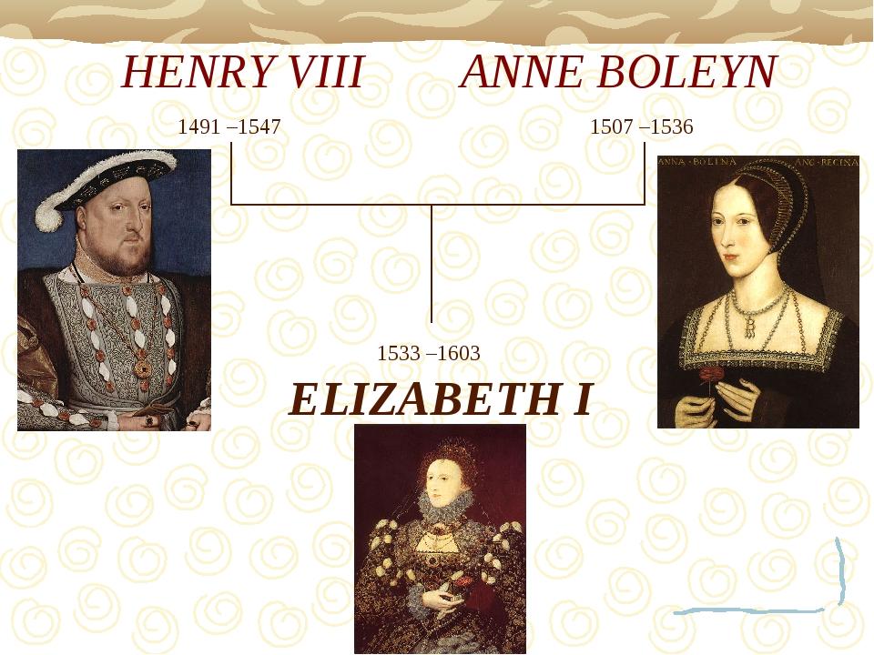 HENRY VIII ANNE BOLEYN ELIZABETH I 1491 –1547 1507 –1536 1533 –1603